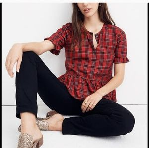 Madewell plaid peplum top
